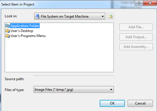 add image in application folder in setup file in vs