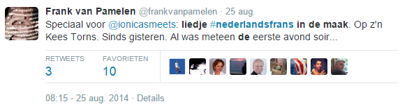 Speciaal voor @ionicasmeets: liedje #nederlandsfrans in de maak. Op z'n Kees Torns. Sinds gisteren. Al was meteen de eerste avond soir....