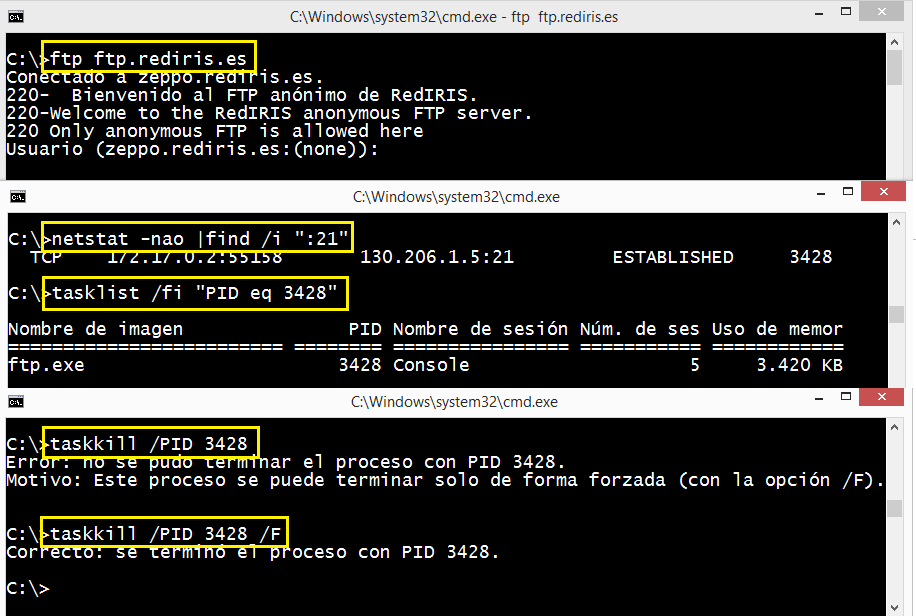 Windows: Eliminar conexiones activas tcp