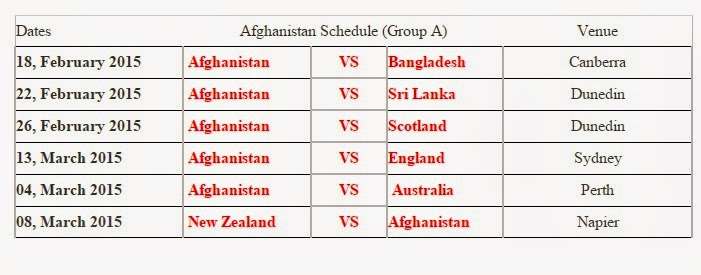... Cricket World Cup 2015 Matches Schedule - T20 World Cup Schedule