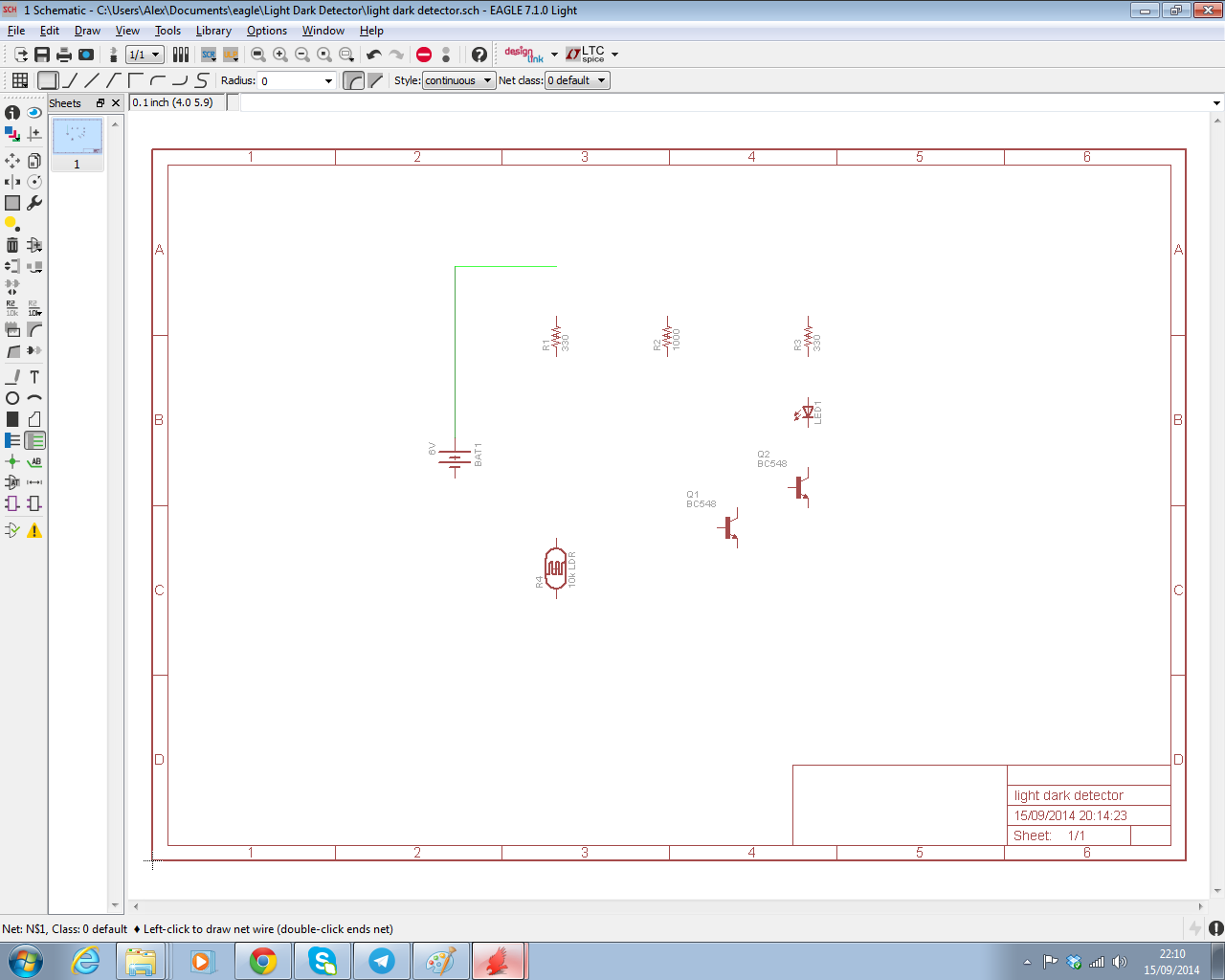 The Answer Is 42 How To Input A Schematic Diagram Using Cadsofts Computer Mouse And Image Extend Line Click Left Button As Required Until Resistor Labelled R3 330 Ohms On Right Of Connected