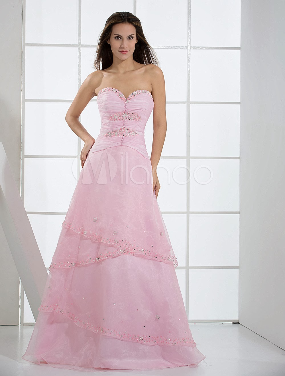 China Wholesale Dresses - Pink Strapless Satin Organza Prom Dress/Homecoming Dress