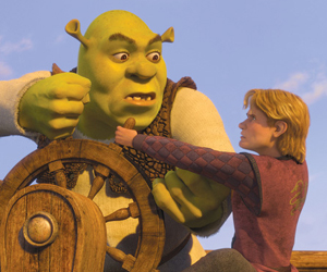 Arthur and Shrek fighting over the ships tiller in Shrek the Third 2007