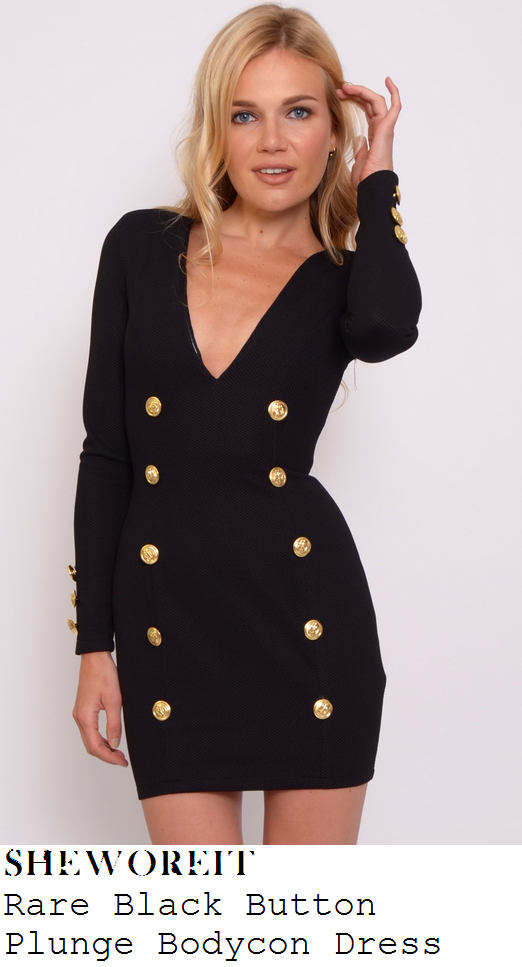 holly-willoughby-black-gold-button-detail-plunge-long-sleeve-bodycon-dress-celeb-juice
