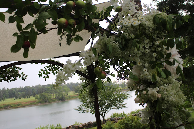 handmade handcrafted chuppah, weddings, maine weddings, Bar Harbor, Chickadee Hill Flowers, Acadia, florist, flower arranging, lush garland of flowers, chickadee hill flowers, farmer florist, apple branches, peonies, dahlias, elven, fairy tale, draperies