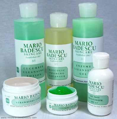 MARIO BADESCU SKIN CARE glycolic foaming cleanser enzyme cleansing gel cucumber cleansing lotion oil free moisturizer strawberry tonic mask ceramide eye gel