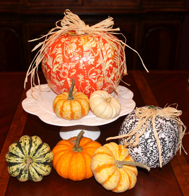 diy fabric decoupaged pumpkins