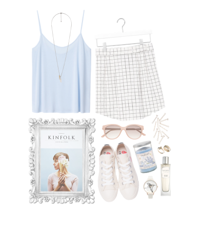 blue outfit skirt sneakers