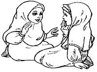 Mewarnai Gambar Islami Zahra Dan Soleha Bermain Bersama Diteras Rumah