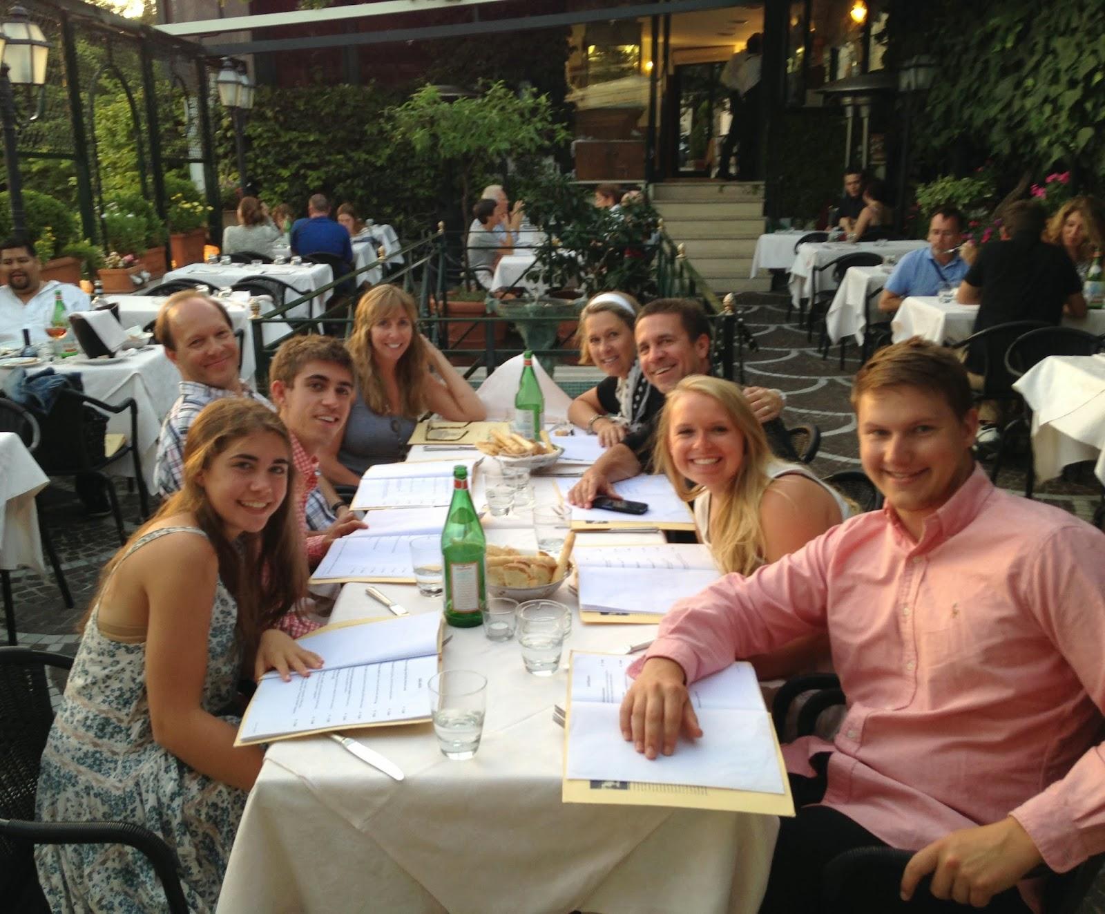 families eating dinner in Rome