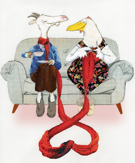 illustration of a goat and chicken on a couch knitting scarf for valentine's day by Robert wagt