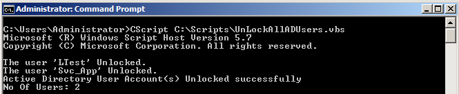 VBScript Unlock Currently Locked out AD User Accounts in VBScript