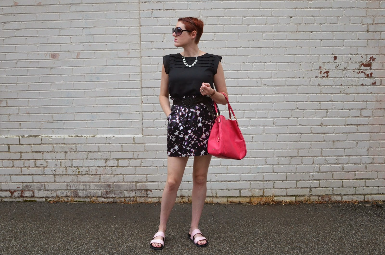 3c7fab47 top-Noir Clothing via Le Tote, skirt-Madewell(sort of similar here), shoes- Zara(similar here), bag-Coach(similar here), necklace-chloe + isabel c/o  Angela B