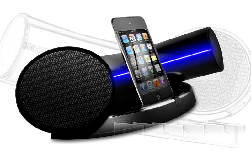 virtual speakal introduces ikurv modern starship like ipod iphone docking station. Black Bedroom Furniture Sets. Home Design Ideas
