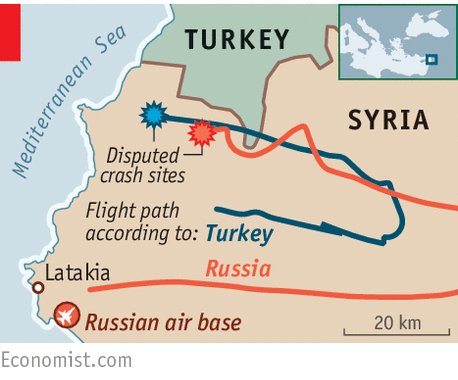 Russian plane flight path according to Turkey & Russia