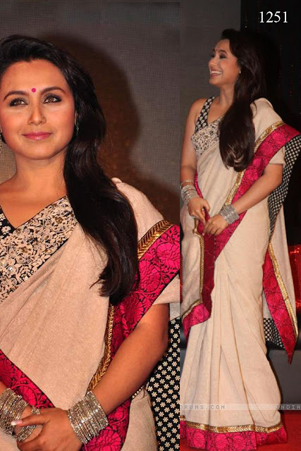 Rani Mukherjee White & Red lace saree at Launch Music talaash 5,Bollywood Actress Rani With White & Red Replica Saree