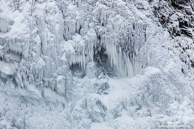 Rime ice at Snoqualmie Falls in winter.