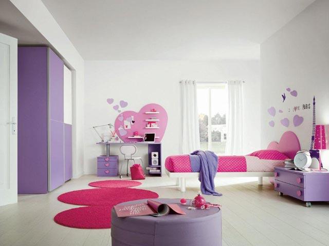 Idee Pour Amenager Une Petite Salle De Bain : décoration chambre fille violet  chambre de fille