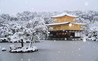 temple emas, kinkakuji, snow, golden temple