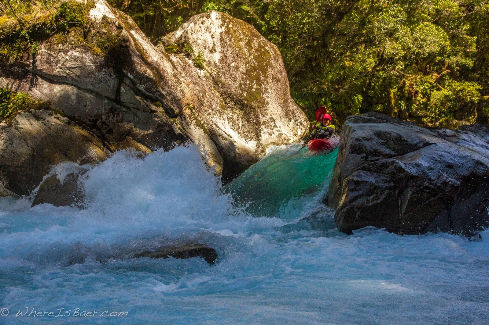 Gonzo making a tight pinch look good, hollyford river, NZ, new zealand, fiord land chris baer,