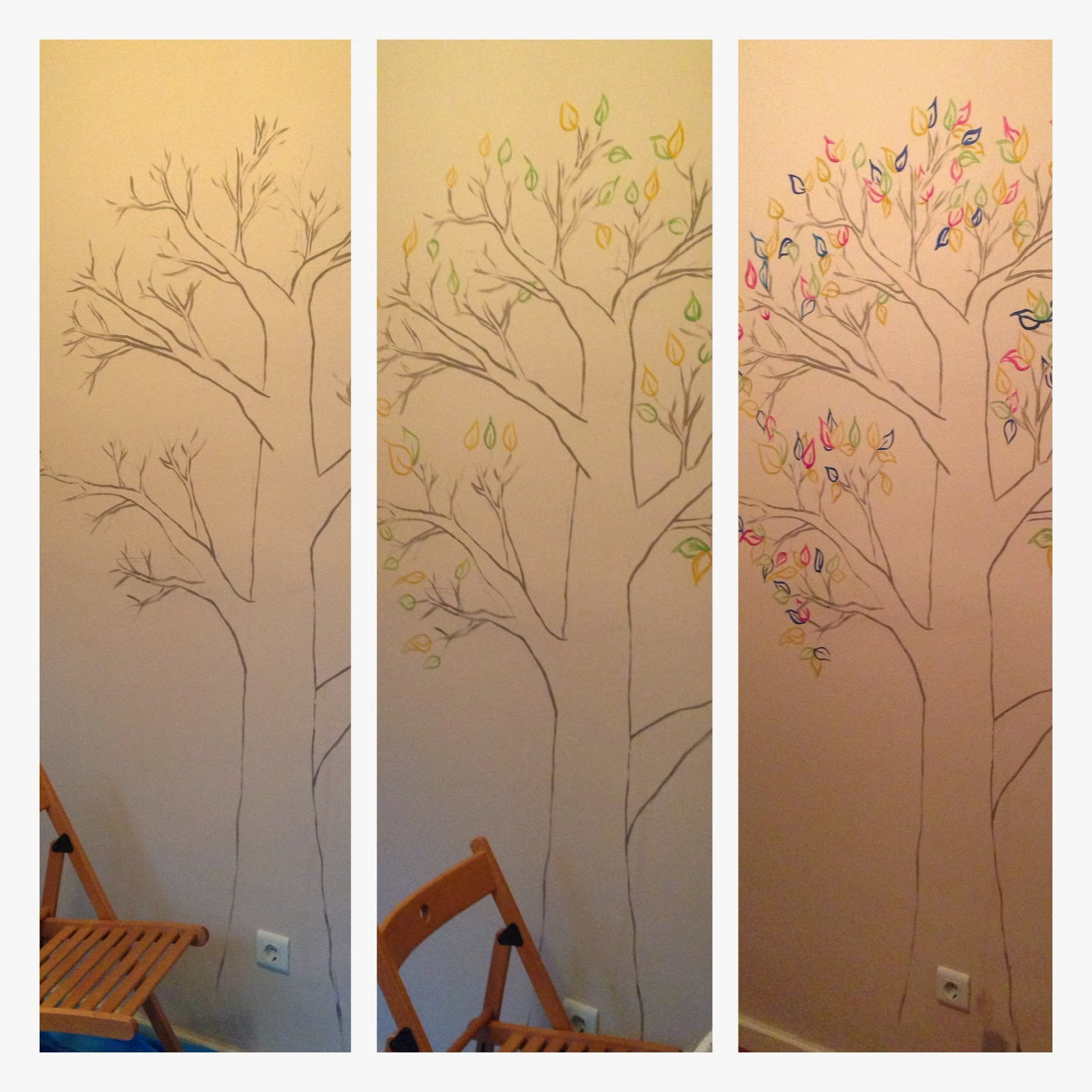 Mural para martina rbol de colores rojosill n for Papel de pared para pintar