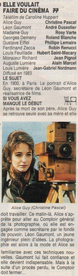 Christine Pascal  absolument radieuse en Alice Guy, dans un téléfilm de Caroline Huppert (Elle voul