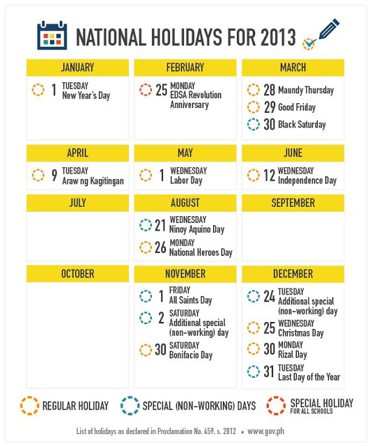 2013 Philippine National Holidays (Plan your vacations ahead)