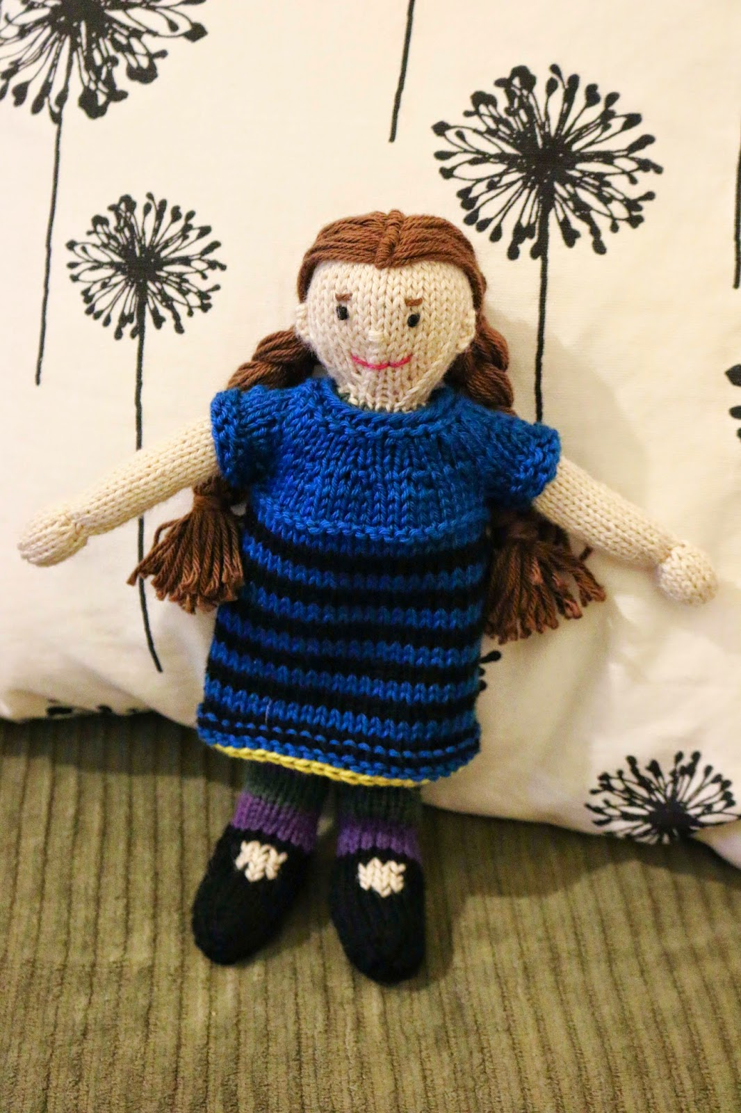 Chemknits july 2015 after i finished millies striped dress i realized that i wanted to add another piece to her outfit a shawl the shape is that of a basic triangular shawl fandeluxe Gallery