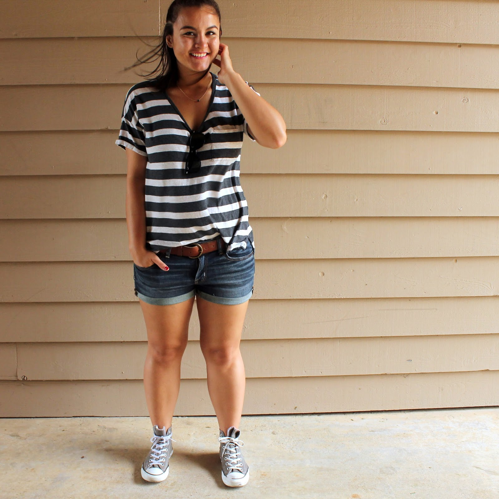 t-shirt, T-shirt, shorts, denim shorts, jorts, sunglasses, ray bands, half bun, stripes, striped, striped t-shirt, converse, high tops, dogeared, loft, loveloft,
