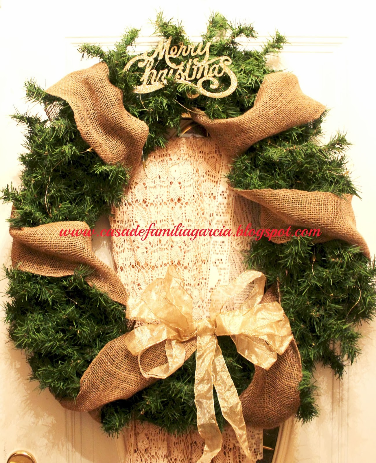 christmas is right around the corner and that means deck the halls many times when we go to stores and try to buy a large wreath they are too expensive - Burlap Christmas Wreath