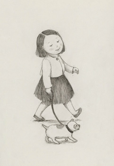 little girl walking her dog - yara dutra