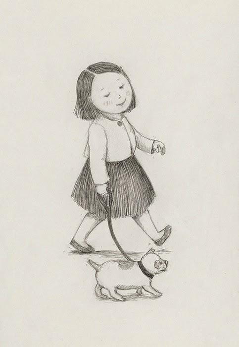 little girl walking her dog - yara dutra