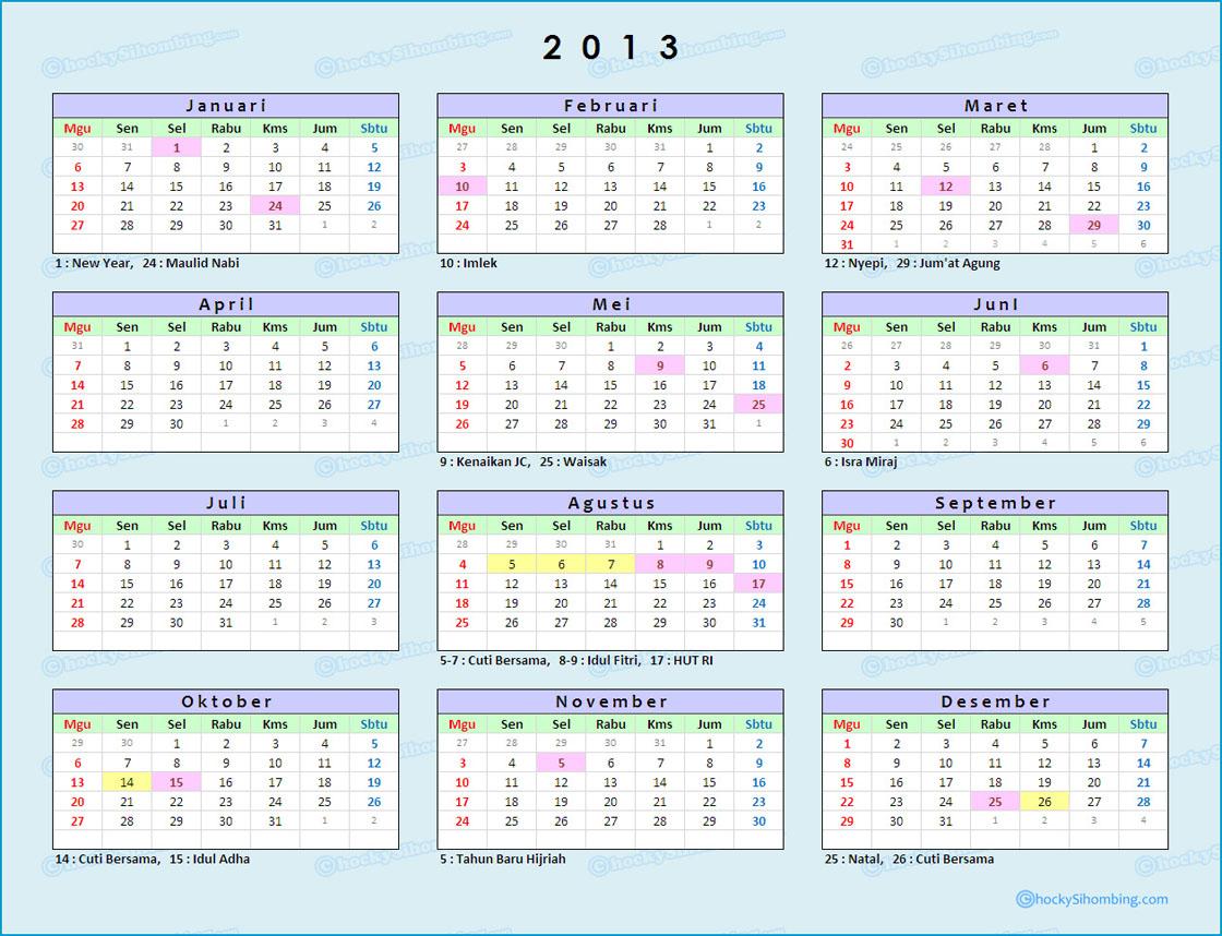 kalender 2013 tentunya berbeda dengan tahun sebelumnya, dari penentuan