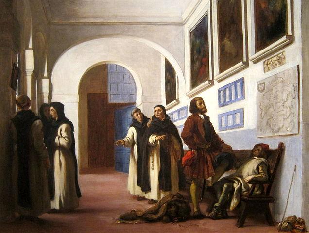Pintura Colón y su hijo en el Monasterio de la Rábida de Eugene Delacroix