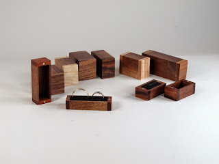 Handmde Wooden Ring Boxes, Walnut, Maple, Cherry, Mahogany, Acacia