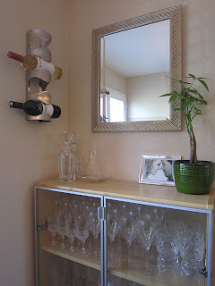 Re-purposed bookcase bar area, bar, stemware, crystal, wine