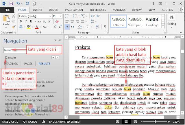 Cara mudah mencari kata di ms word