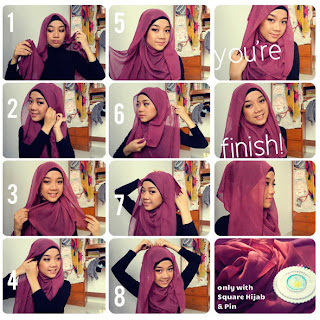 paris 2013, segi empat simple dan video hijab tutorial paris gratis