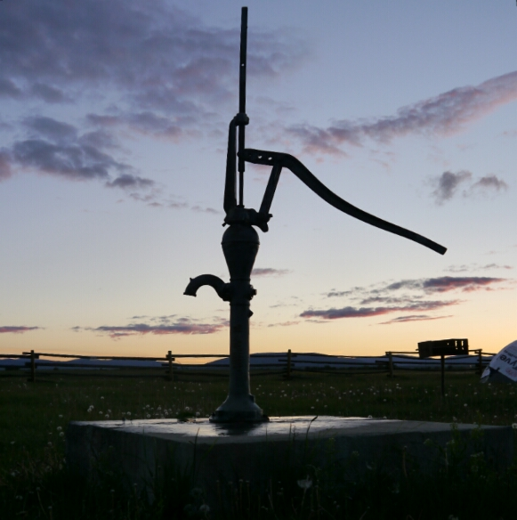 pump at sunset