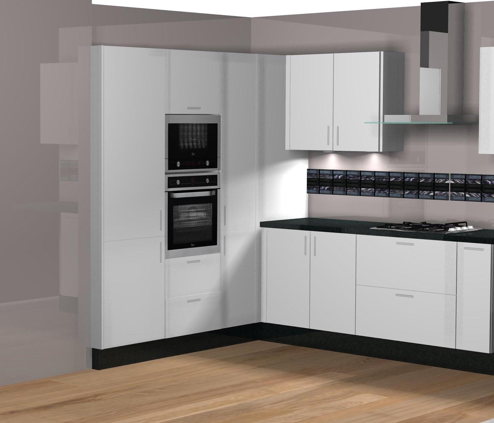 Dise o de cocina comedor laminado en blanco for Diseno de modulares para comedor
