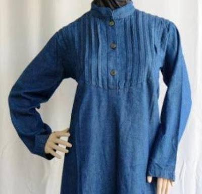 Gamis Jeans Muslimah dengan Pinggang Lurus