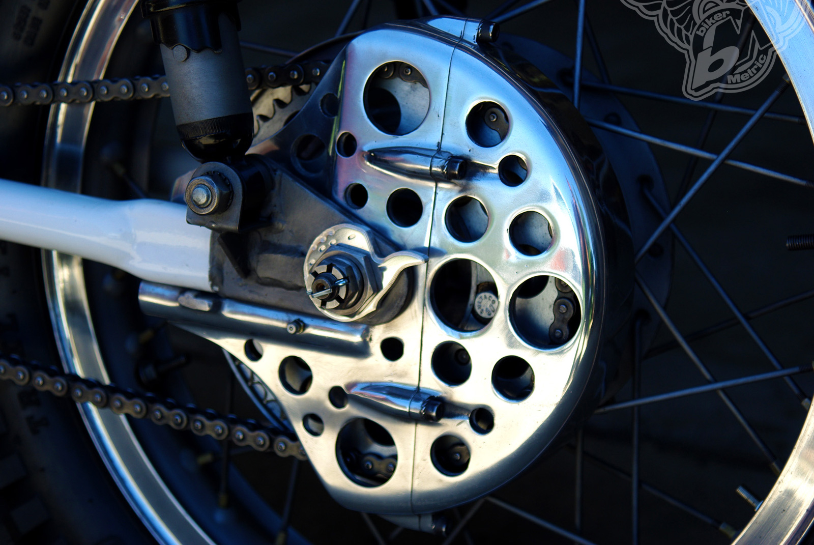 custom bultaco matador 250 drilled chain cover | busch & busch
