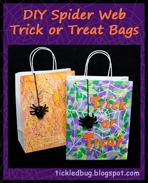Bright and colorful spider web trick or treat bags with black pom pom spiders dangling over their webs