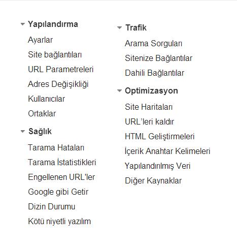 Google Webmaster Tools Menüleri