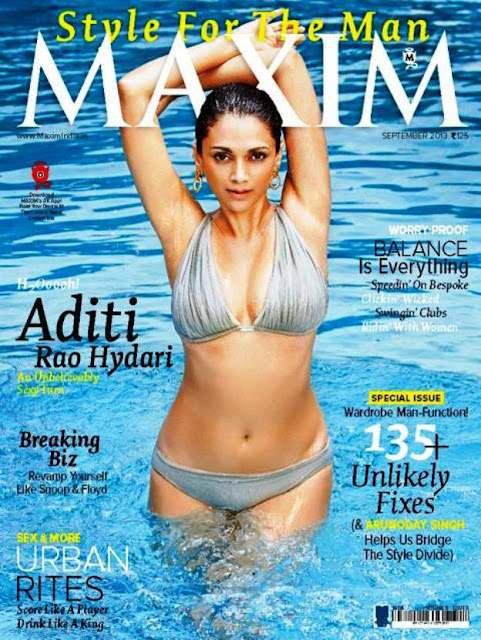H2OOOOh! Aditi Rao Hydari in Bikni at Maxim Magazine Sept 2013 Cover pic