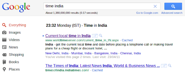 Current time finding with Google