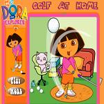 لعبة دورا تلعب الجولف في البيت