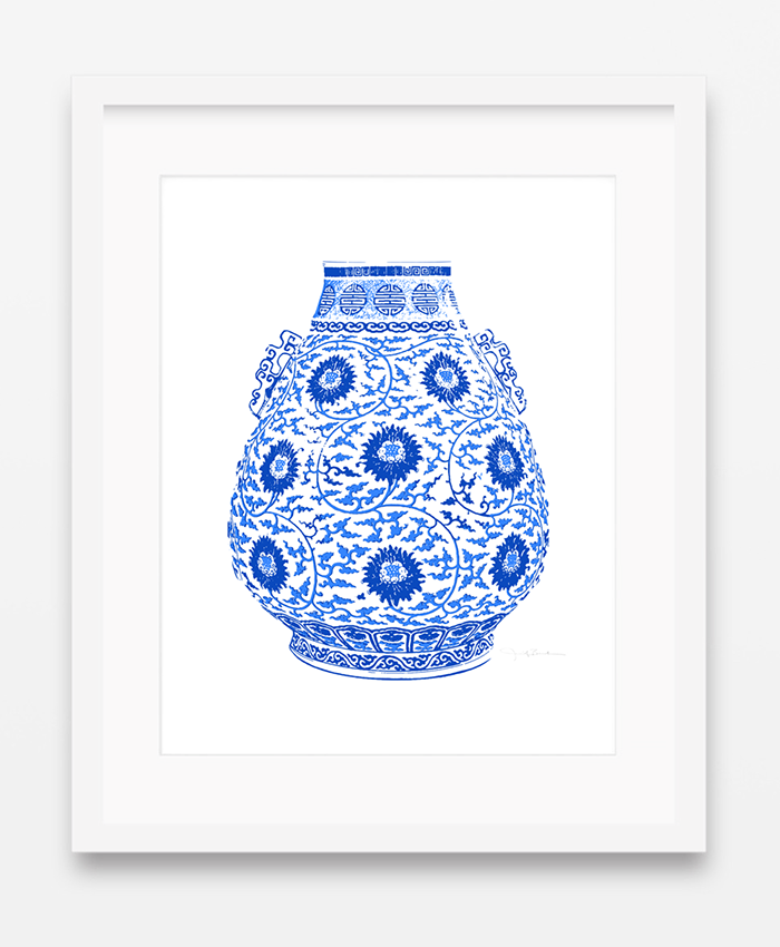 Matted and framed Blue and White Chinese Lotus Fine Art Pint from shop.thepinkpagoda.us
