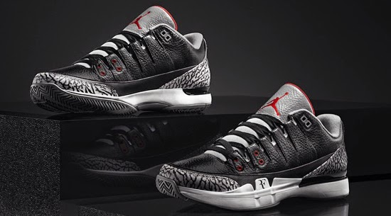 f152ea6589d104 Roger Federer s Nike Zoom Vapor 9 Tour meets the Air Jordan III for the  second time. A follow-up to the white cement colorway