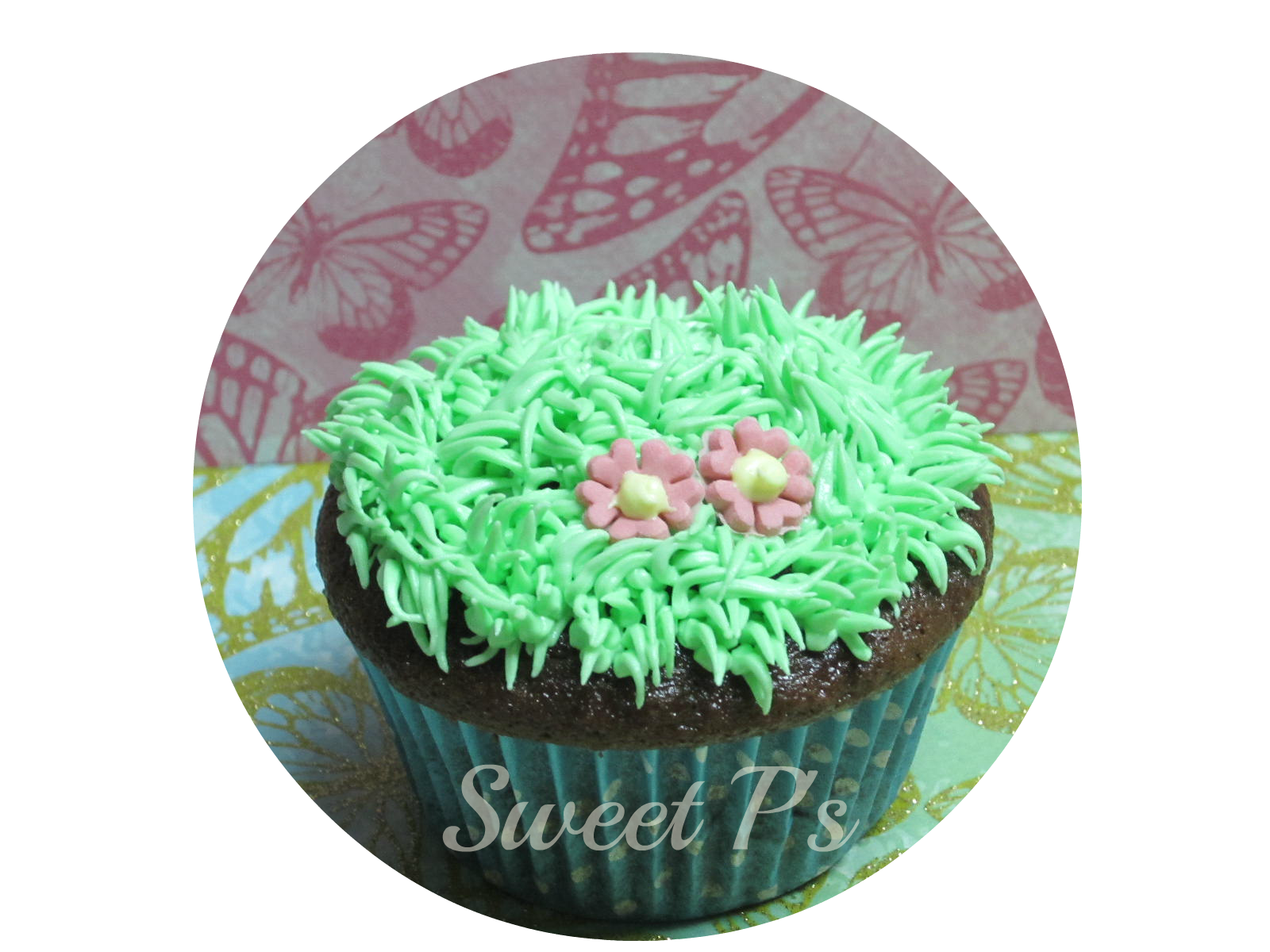 piped grass cupcake